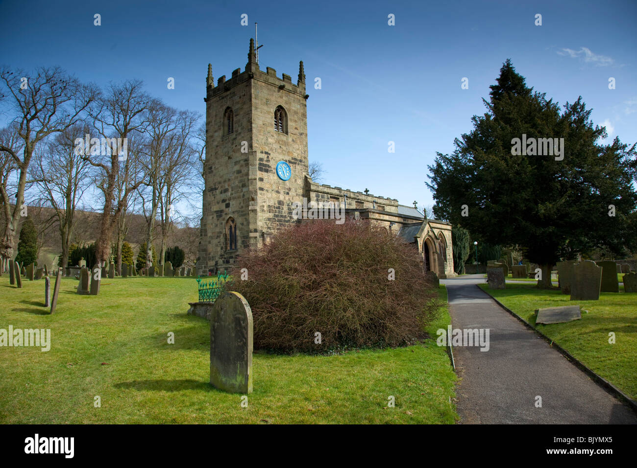 Eyam Church in the Peak District, Derbyshire, England, UK, Landscape, Blue Sky - Stock Image