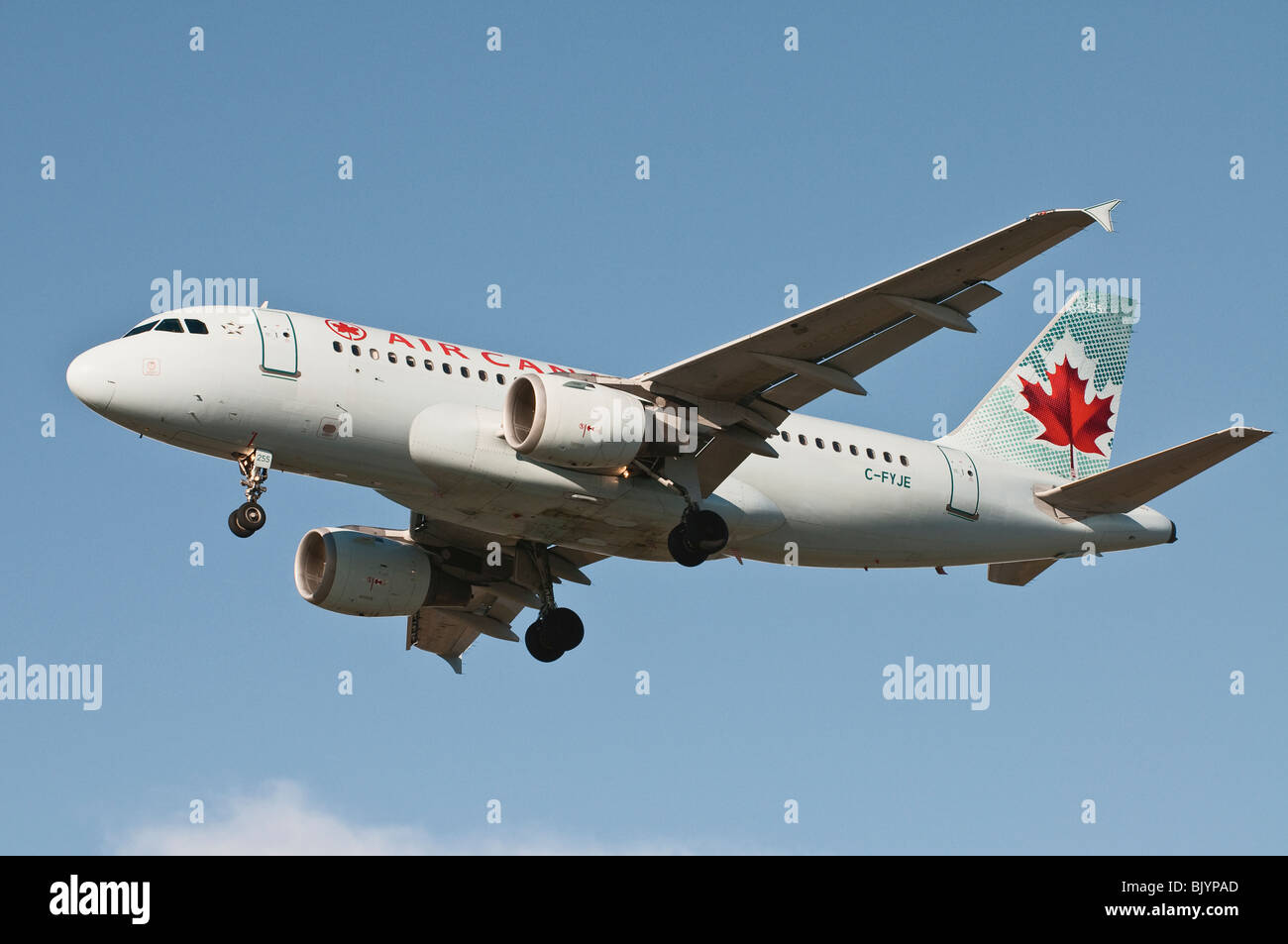 Air Canada Airbus A319 jet airliner on final approach for landing. - Stock Image