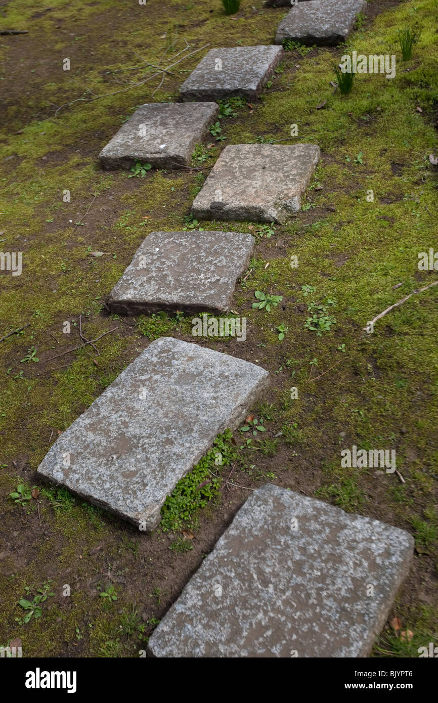 Stepping stones in a garden Stock Photo: 28884806 - Alamy