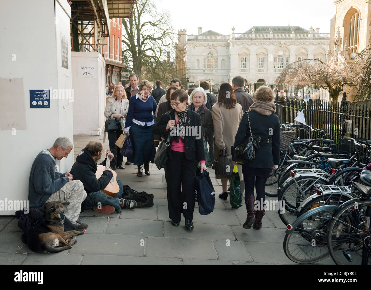 Buskers in the centre of Cambridge, UK - Stock Image