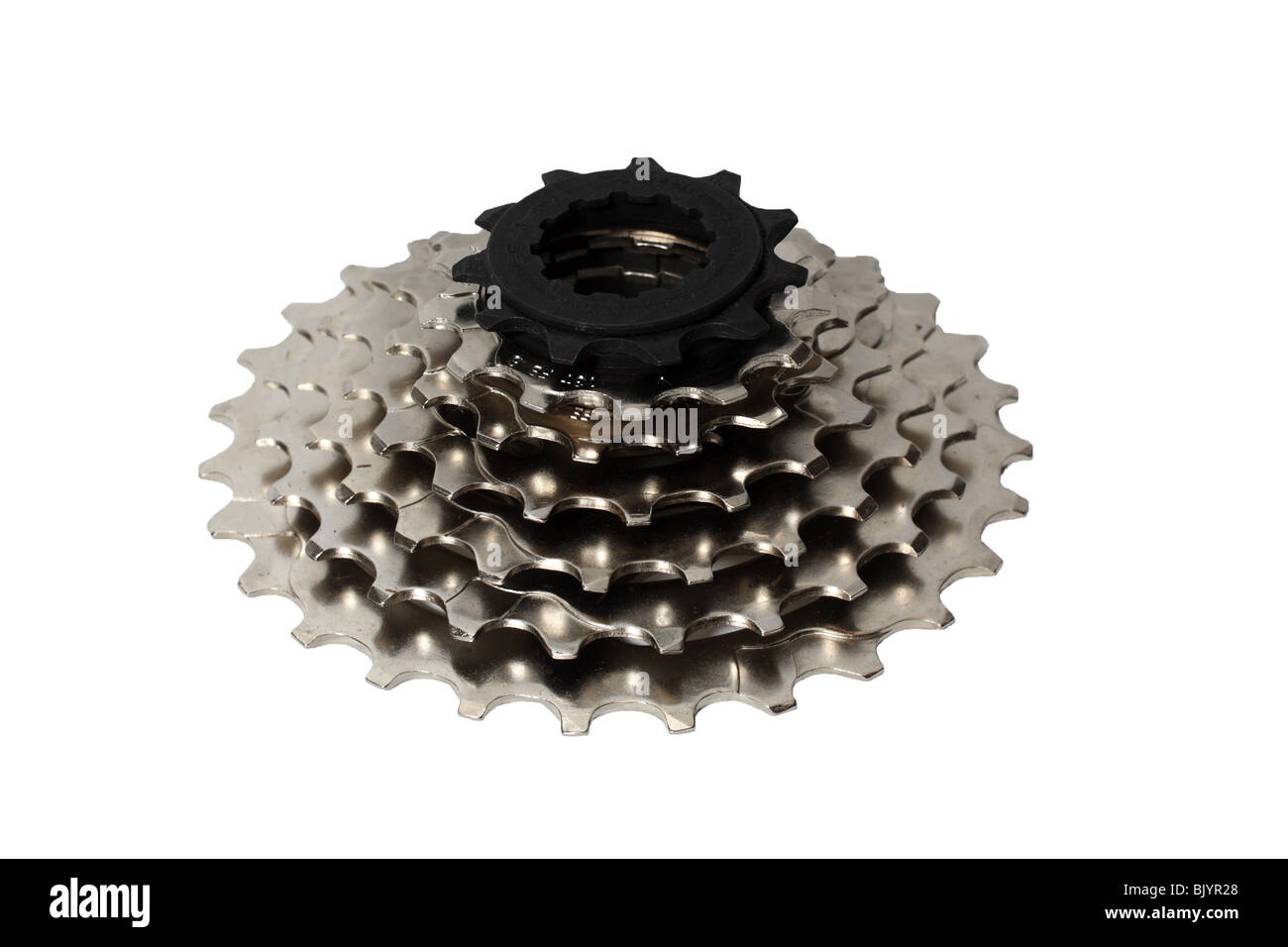 Shimano seven speed cassette for a bicycle isolated on a white background - Stock Image