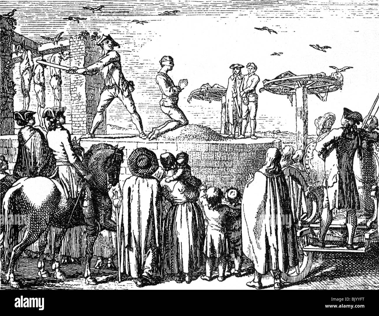 justice, penitentiary system, execution, beheading, copper engraving Stock  Photo - Alamy