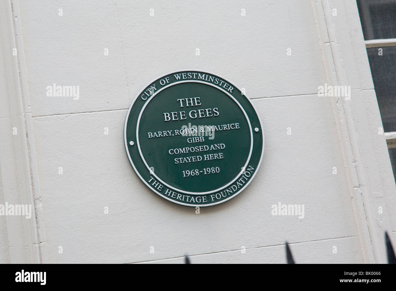 City of  Westminster - Heritage plaque in Brook Street Mayfair London GB UK. 'The Bee Gees' stayed here - Stock Image