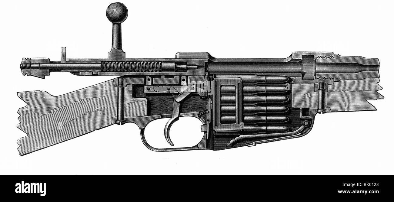 weapons, rifles, Italian rifle M-91, Mannlicher system, cross section of the breech block, open, wood engraving, - Stock Image