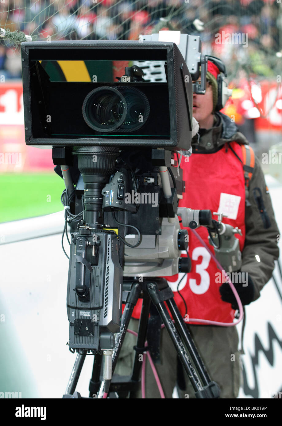 Television camera capable of recording 3-Dimensional images in football stadium of Leverkusen, Germany - Stock Image