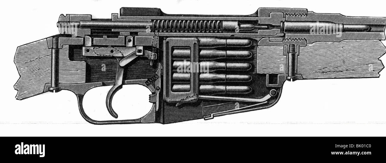 weapons, rifles, Italian rifle M-91, Mannlicher system, cross section of the breech block, closed and loaded, wood - Stock Image