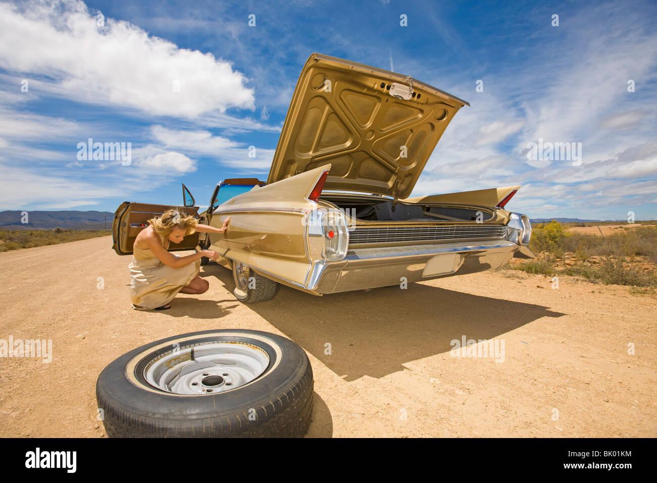 Break down in the desert - Stock Image