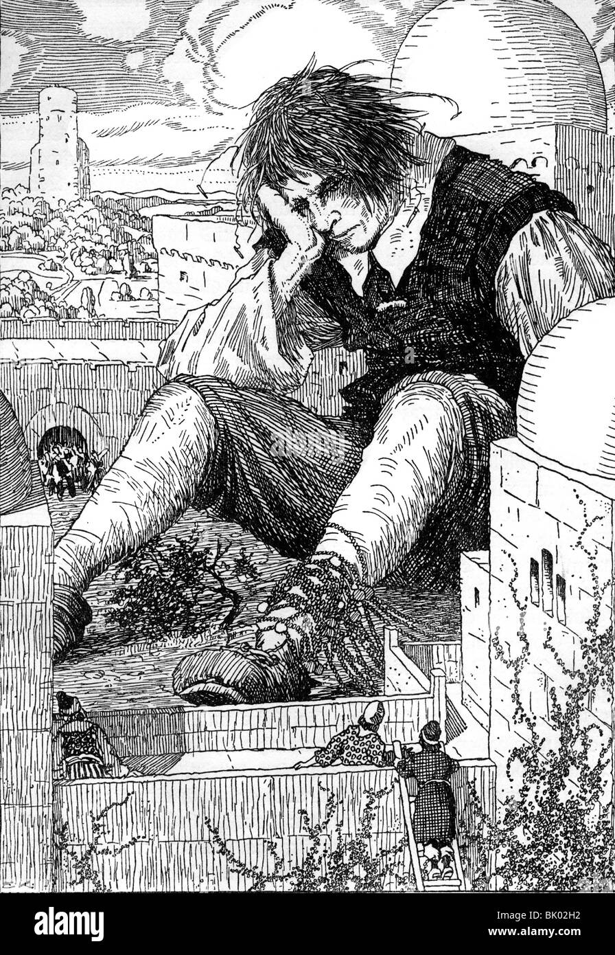 literature, fairy tale, 'Gulliver's Travels', by Jonathan Swift, fixed feet of Gulliver, drawing by - Stock Image