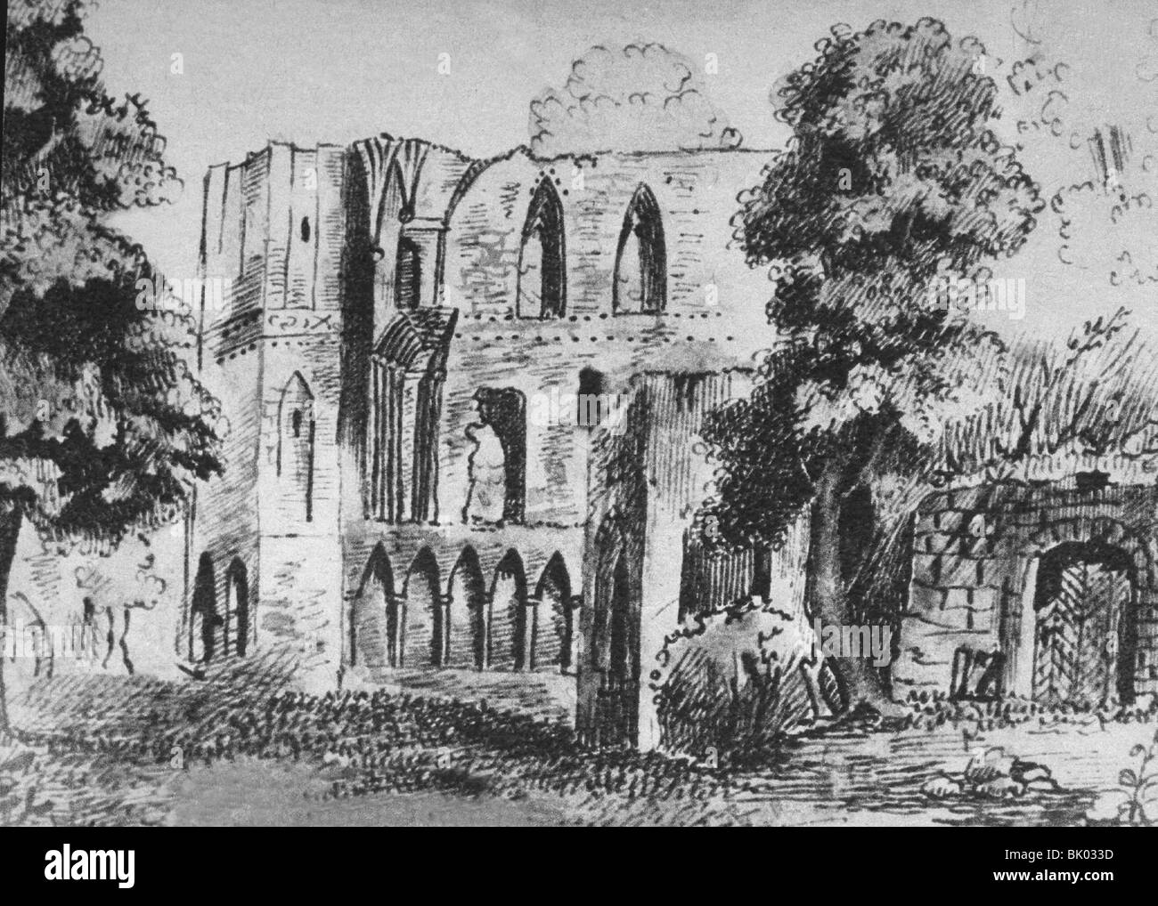 geography / travel, Germany, Lehnin monastery, founded 1180, Order of Cistercians, secularized 1542, ruin, watercolour - Stock Image