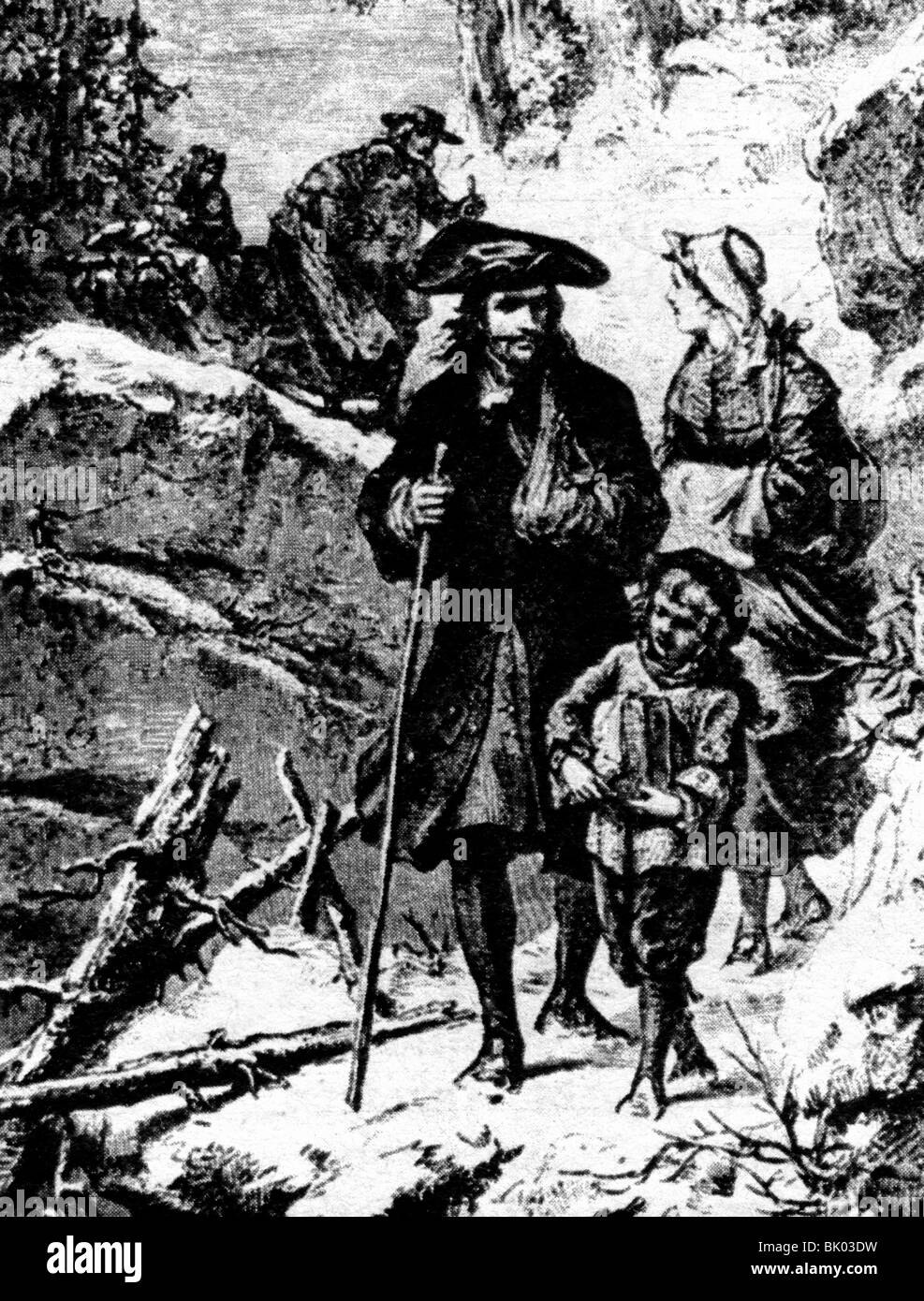 goegraphy / travel, France, people, huguenots, expulsion 1685 - 1730, Artist's Copyright has not to be cleared - Stock Image