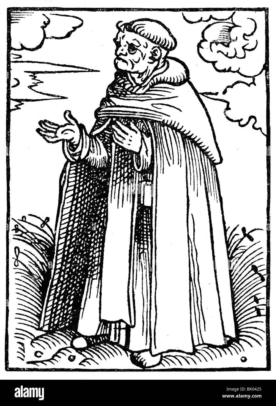 religion, religious orders, Dominican Order (Order of Preachers, Ordo de Praedicatorum), monk in habit, illustration Stock Photo