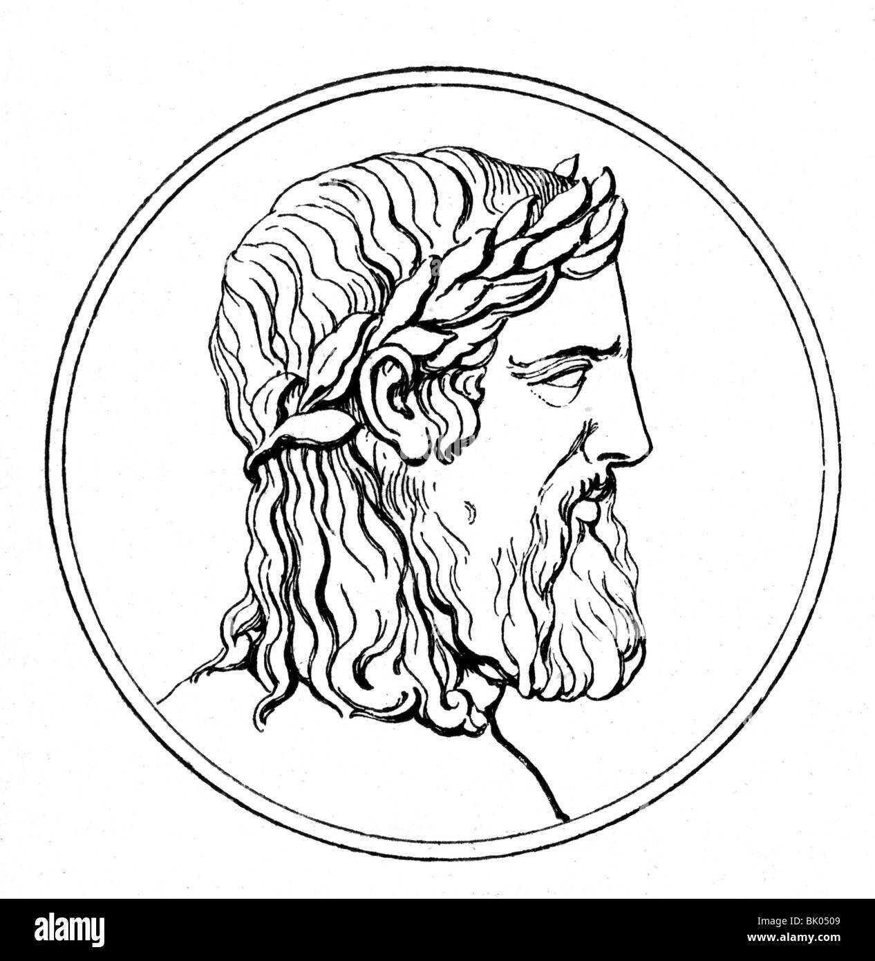 Zeus (Latin: Jupiter), Greek 'divine king', leader of gods, god of sky and thunder, portrait, wood engraving, - Stock Image
