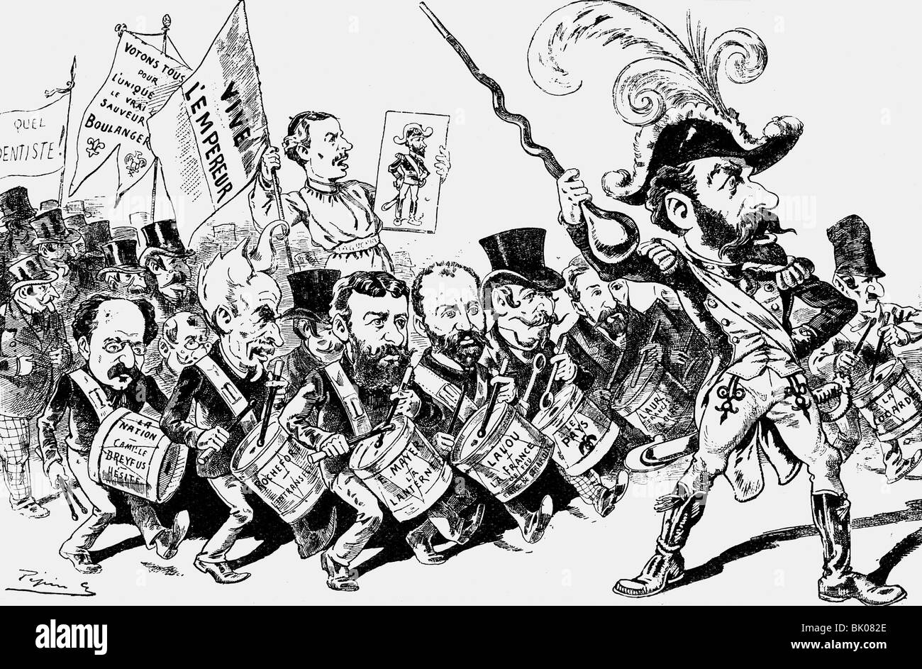 Boulanger, George, 29.4.1837 - 30.9.1891, French General and politician, caricature, 'The Advance of the enemies - Stock Image
