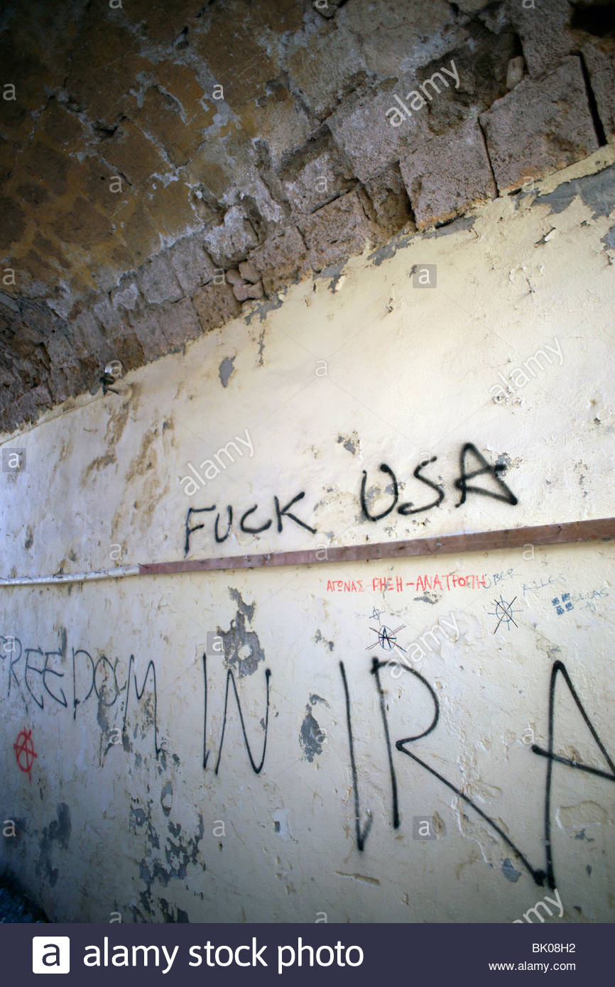 Anti American graffiti writing on a wall in Old Town Rhodes Greece - Stock Image
