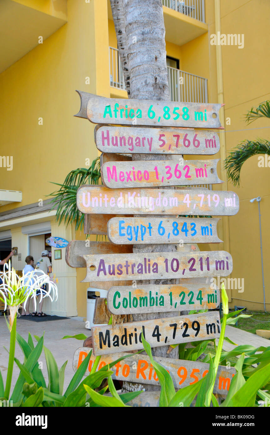 Sign marking distances from Grand Cayman Islands Caribbean Georgetown - Stock Image
