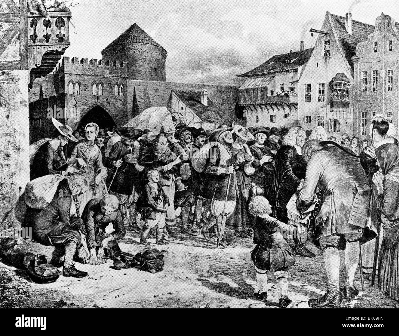 religion, Christianity, protestants, displacement of protestants at archbishopric Salzburg, 1732, arrival at Kaliningrad - Stock Image