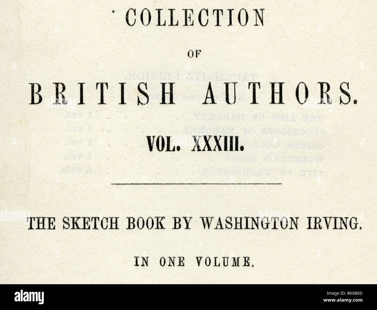 Irving, Washington, 3.4.1783 -  28.11.1859, American author / writer, works, 'The Scetch Book' (1819 - 1820), - Stock Image