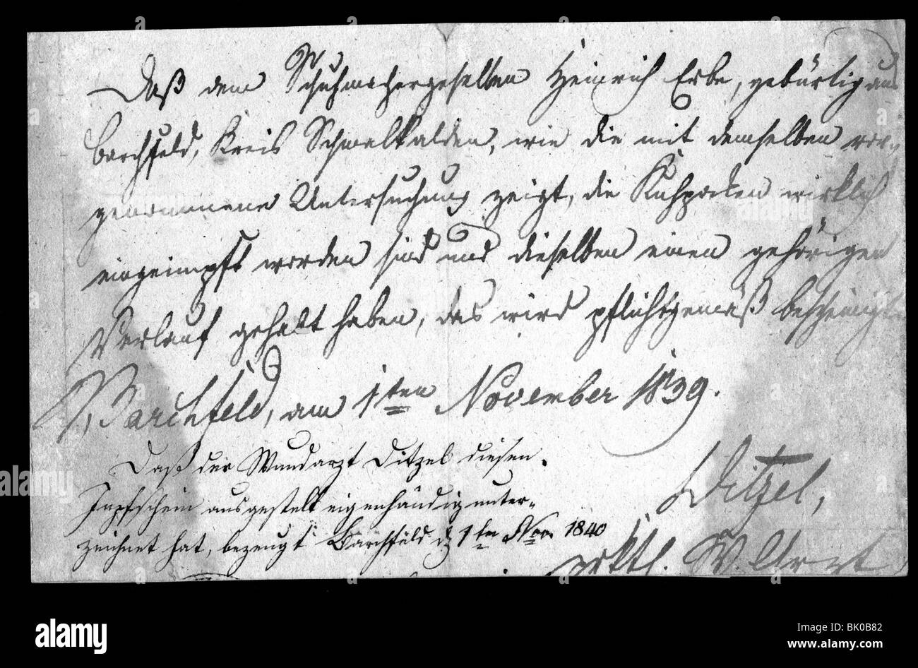 medicine, pandemic diseases, smallpox, vaccination, medical certificate about the immunization, 1.11.1839, second - Stock Image