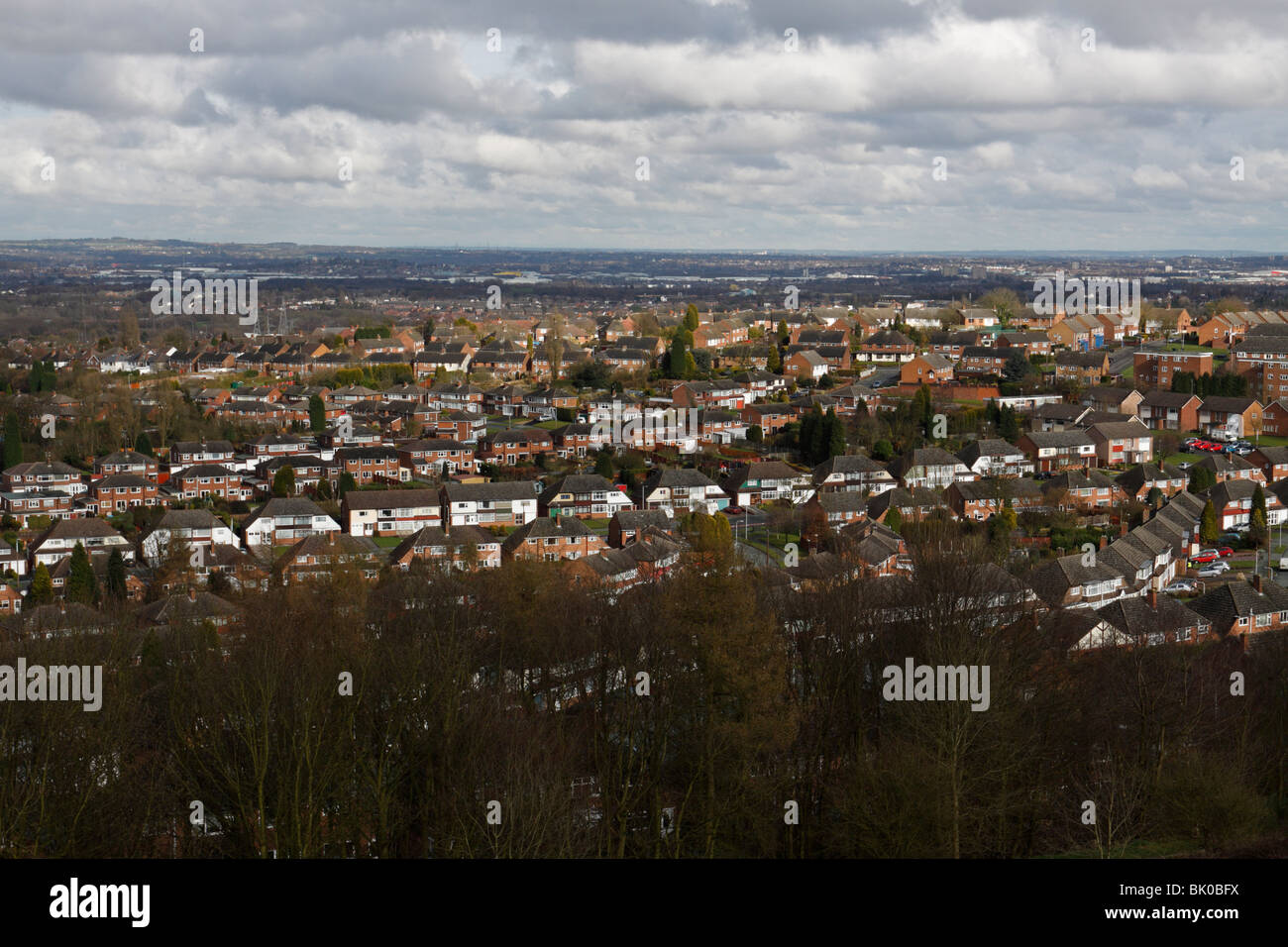 A view over Sedgley and surrounding towns in the Black Country (English West Midlands) showing expansive housing - Stock Image