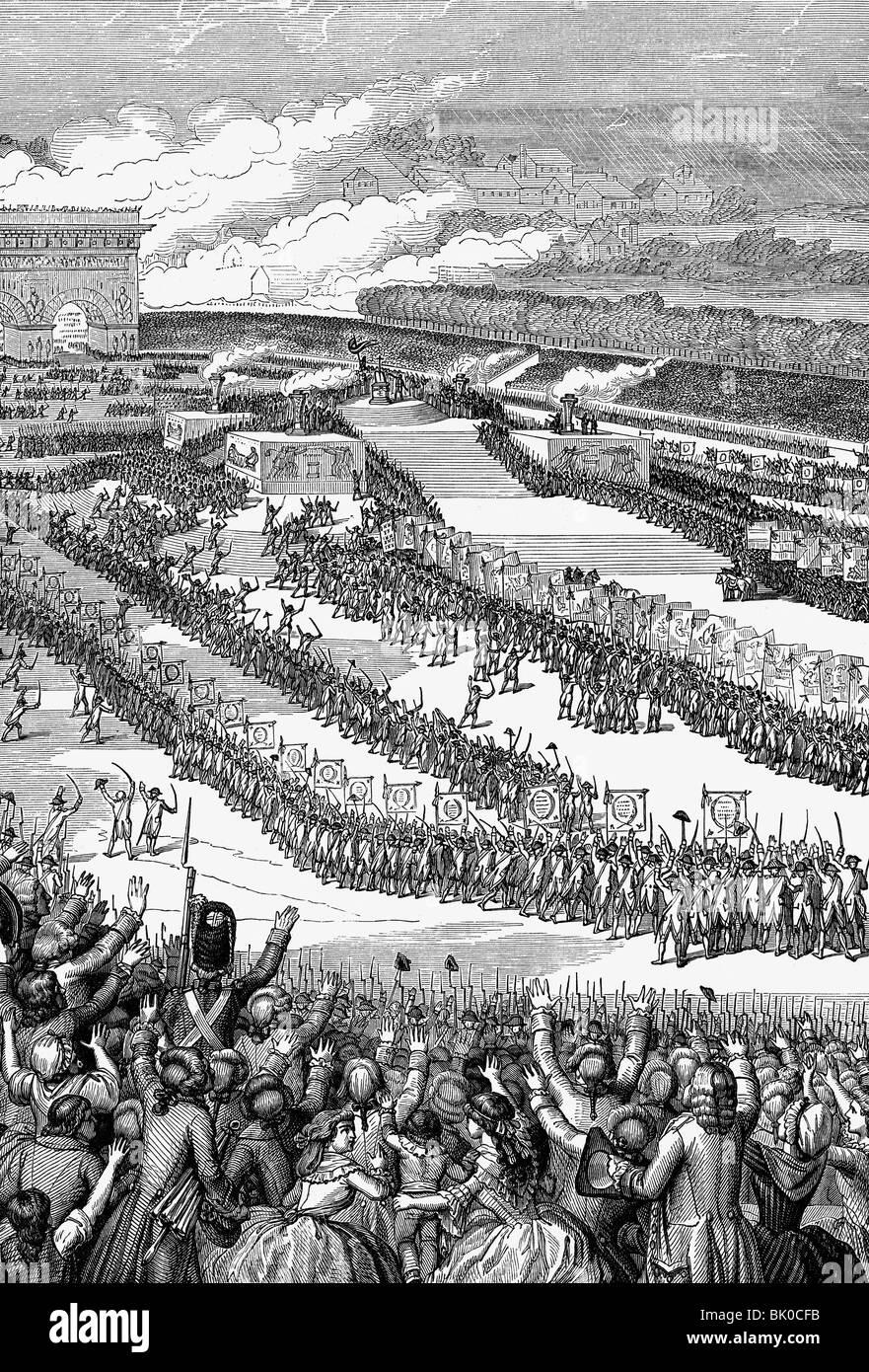 geography / travel, France, French Revolution 1789 - 1799, Fete de la Federation, Champ de Mars, Paris, 14.7.1790, Stock Photo