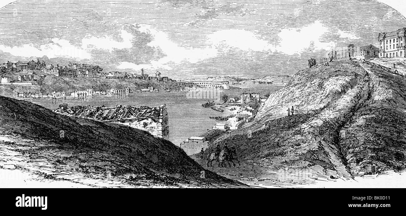 geography / travel, Ukraine, Sevastopol, view, wood engraving, 19th century, Crimean, harbour, bay, Russia, Russian - Stock Image