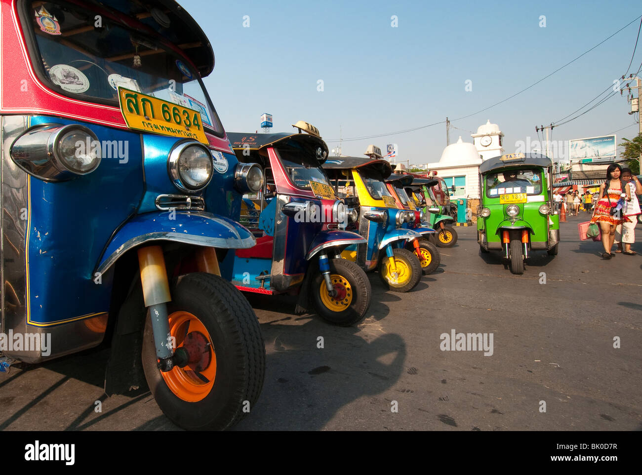 Tuk-tuks at Chatuchak Weekend Market in Bangkok, Thailand. - Stock Image