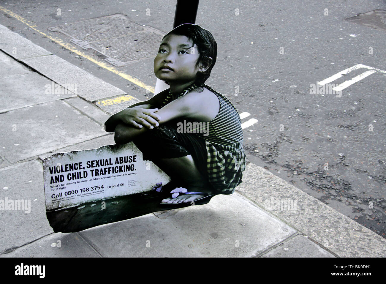 Campaign in London by Unicef to highlight the exploitation of children in the Third World - Stock Image
