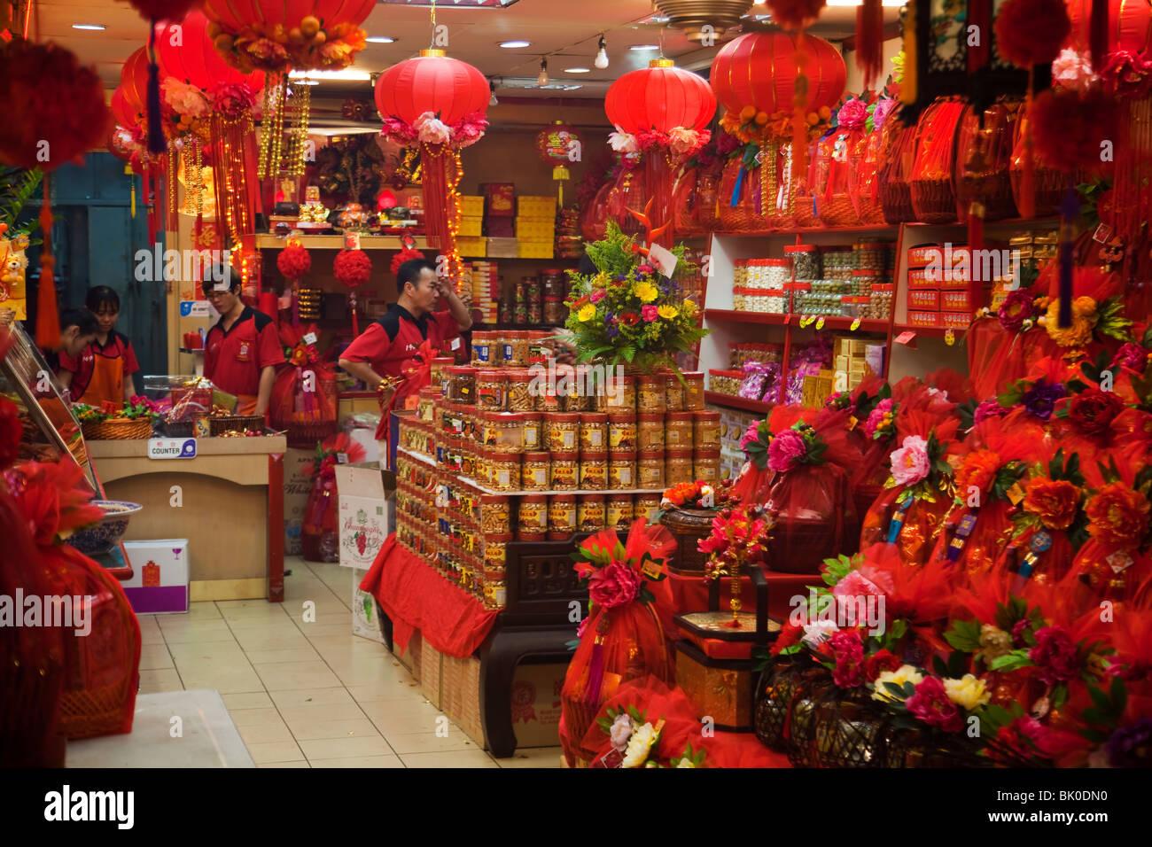 Malaysia Kuala Lumpur China Town Chinese New Year shop interior Stock Photo