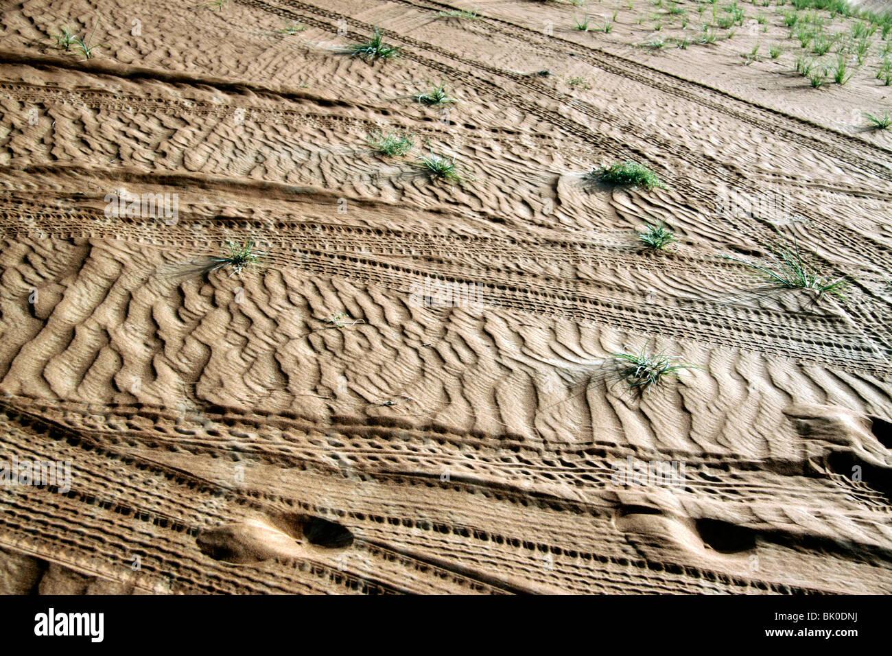 Tyre tracks in the desert in Dubai, UAE - Stock Image