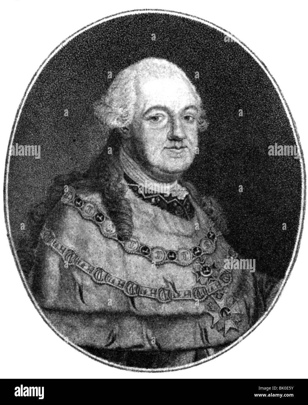 Charles Theodore, 11.12.1724 - 16.2.1799, Prince Elector of Bavaria 30.12.1777 - 16.2.1799, portrait, copper engraving Stock Photo