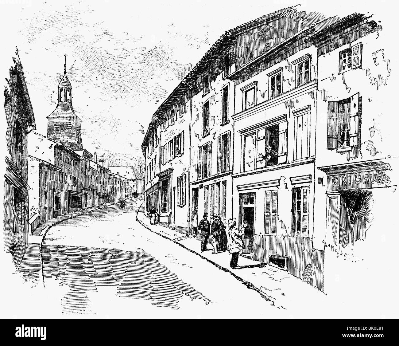 geography / travel, France, Varennes-en-Argonne, streets, Grand Rue, view, wood engraving, 2nd half 19th century, - Stock Image