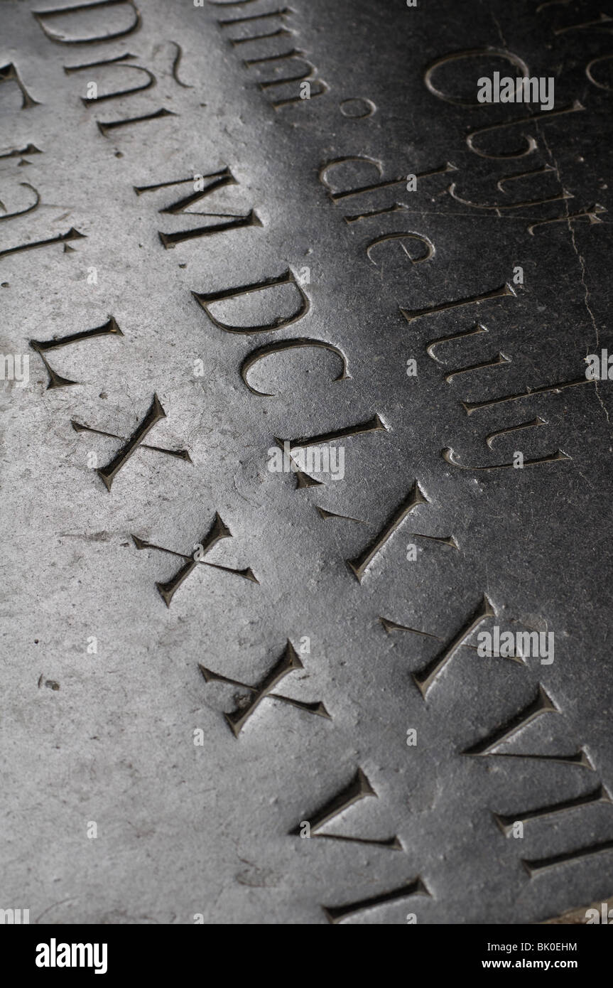 Roman numerals on memorial in St. Peter`s Church, Kineton, Warwickshire, England, UK - Stock Image