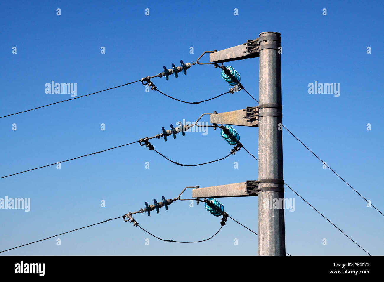 Electric cables and pole - Stock Image