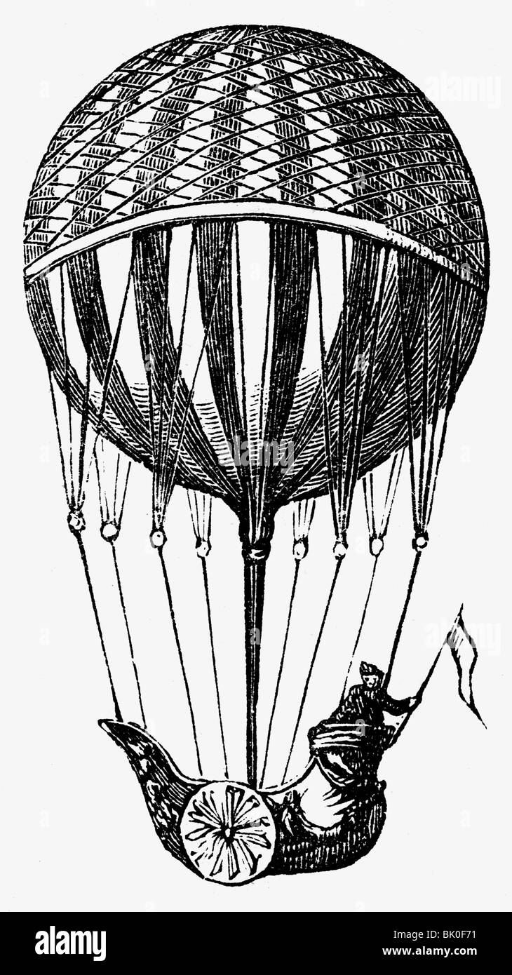 transport / transportation, aviation, balloons, hot air balloon of Pierre Testu-Brissy, 1785, Additional-Rights - Stock Image