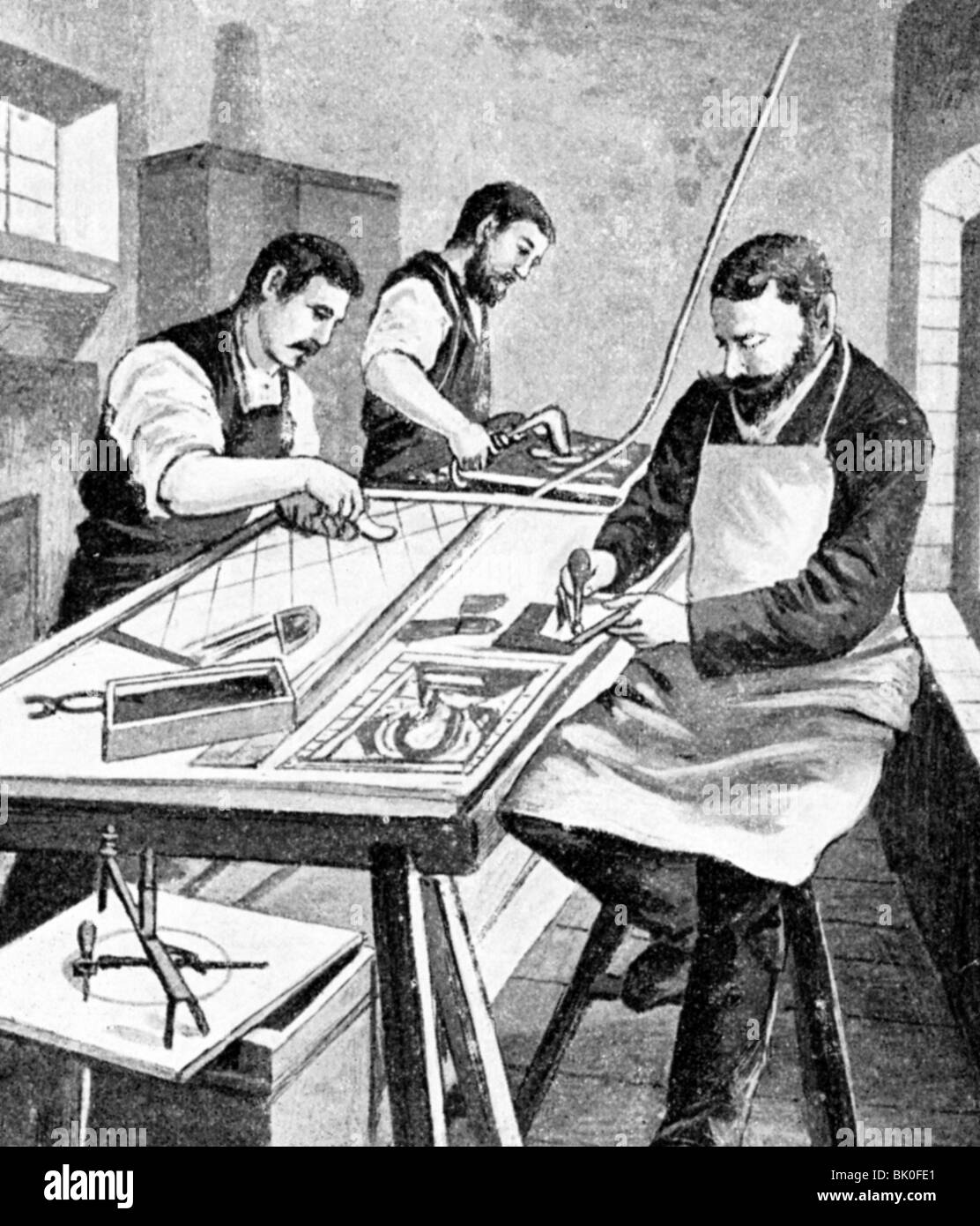 industry, glass, cutting, assembling and leading, Tidden and Busch factory, wood engraving, Germany, 19th century, - Stock Image