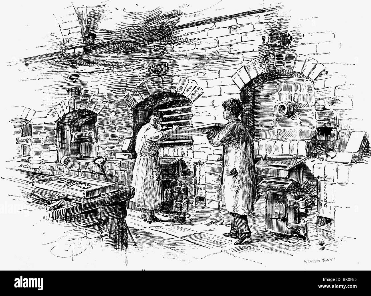 industry, glass, ovens for melting the colours, wood engraving after drawing by Consee, Germany, 19th century, people, - Stock Image