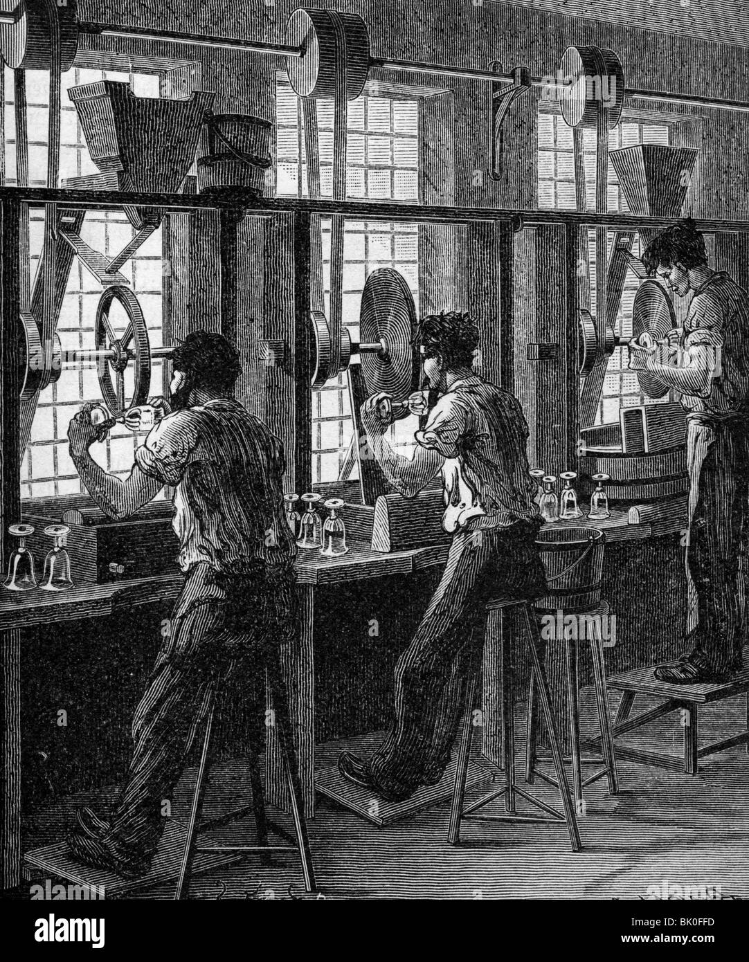 industry, glass, grinding and polishing of crystal glass, wood engraving, Germany, 19th century, factory, production, - Stock Image
