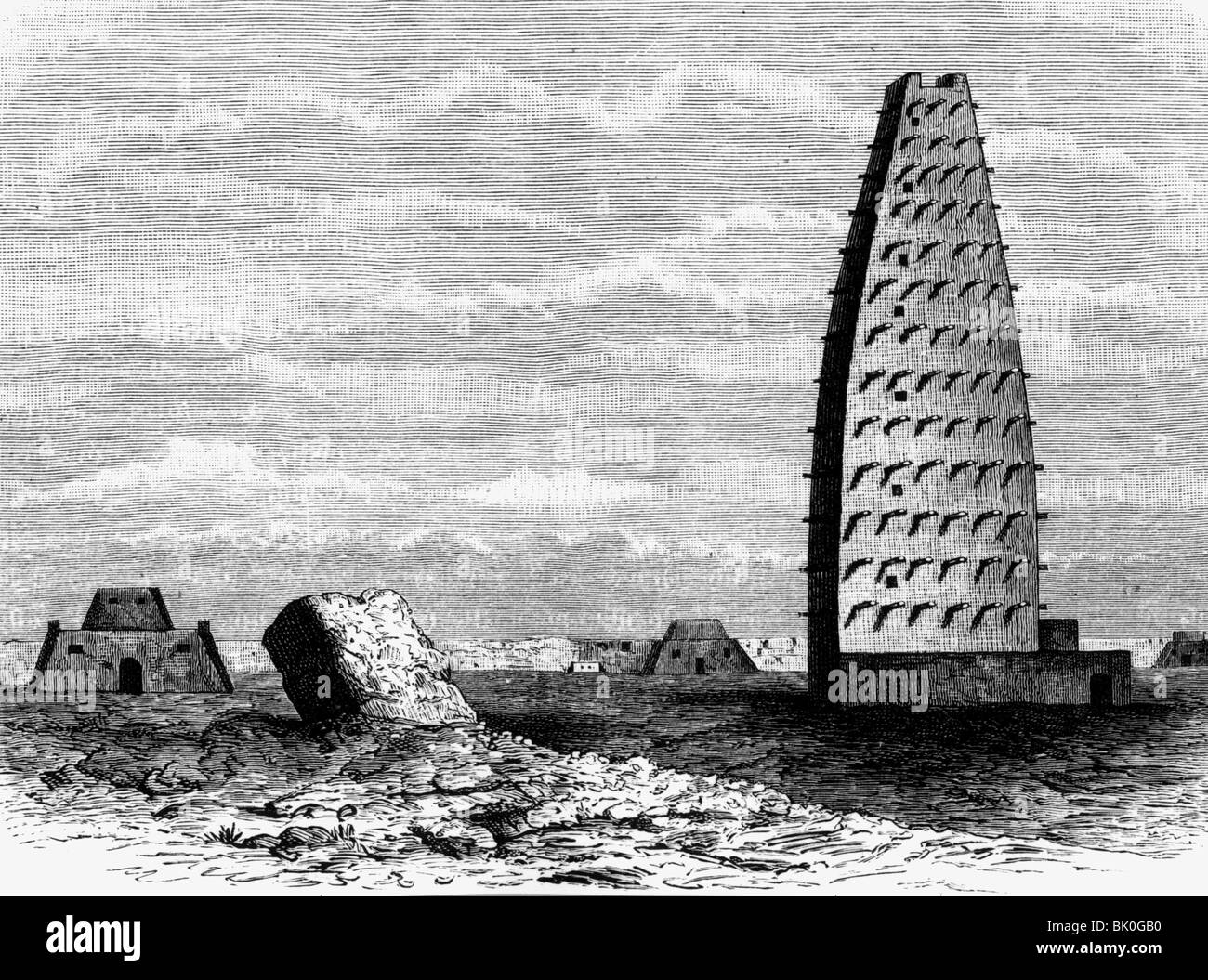 geography / travel, Niger, Agadez, tower of the mosque, exterior, view, wood engraving, circa 1860, Additional-Rights - Stock Image