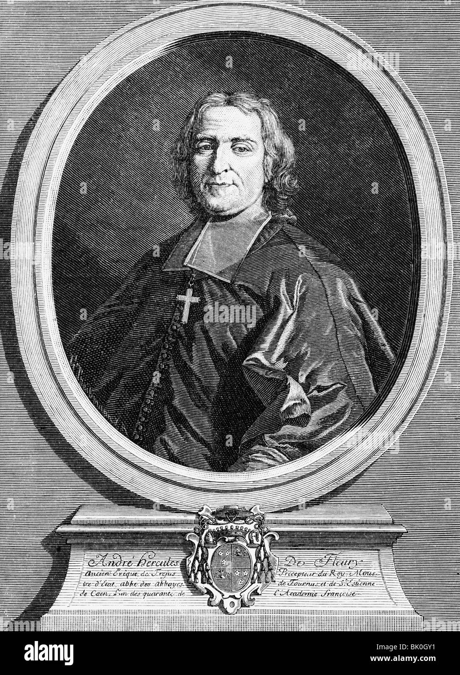 Fleury, Andre-Hercule de, 22.6.1653 - 29.1.1743, French clergyman and politician, First Minister 11.7.1726 - 29.1.1743, - Stock Image