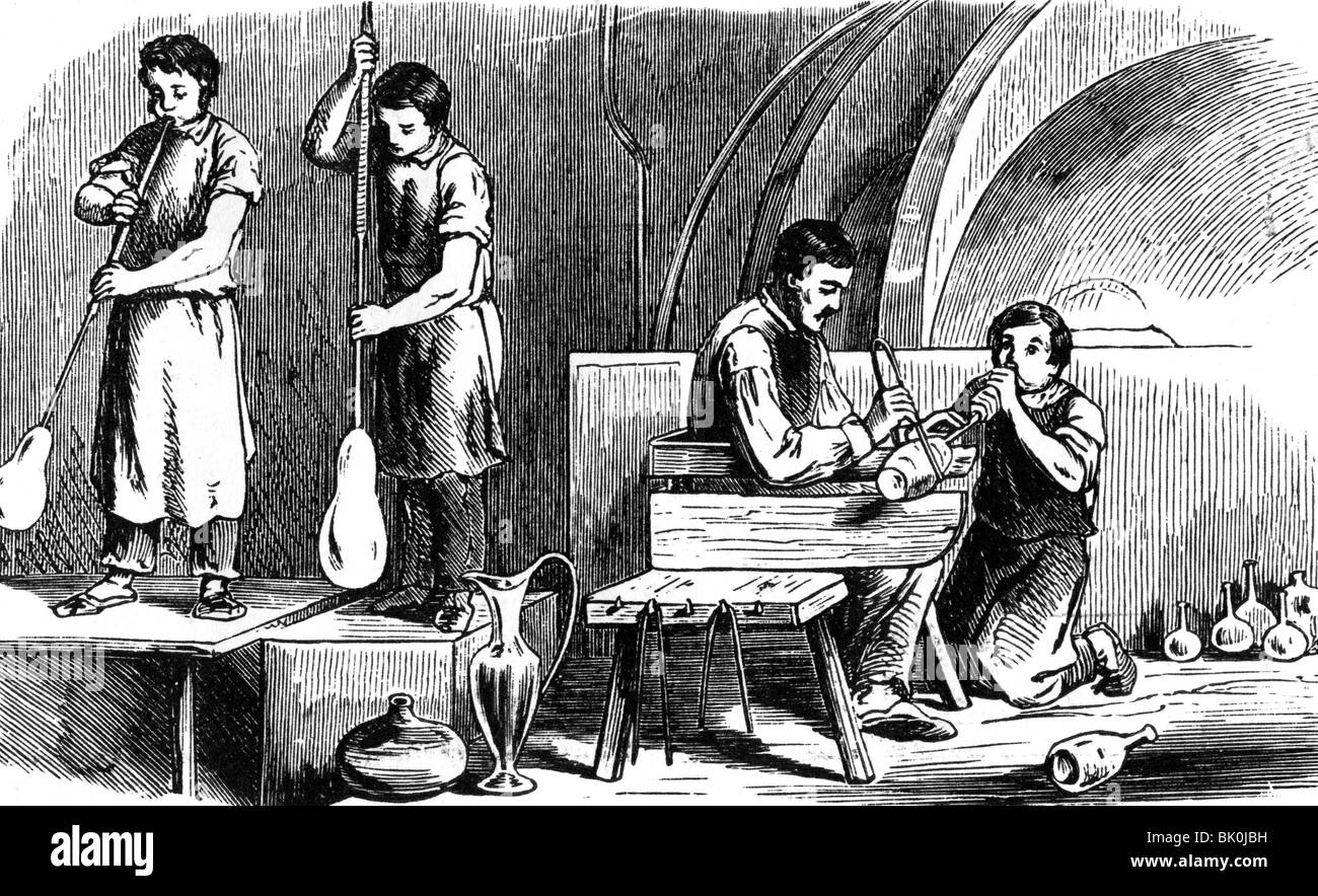 industry, glass, gaffer, wood engraving, Germany, 19th century, people, professions, worker, factory, craftsmen, - Stock Image