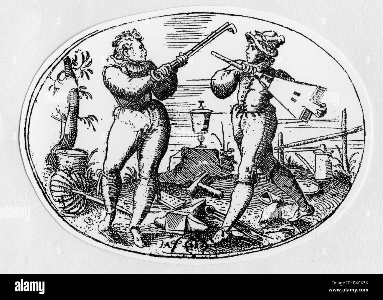 handcraft, craftsmen, caricature, dispute of rank between a smith and a cupmaker, woodcut, 16th century, craftsman, - Stock Image