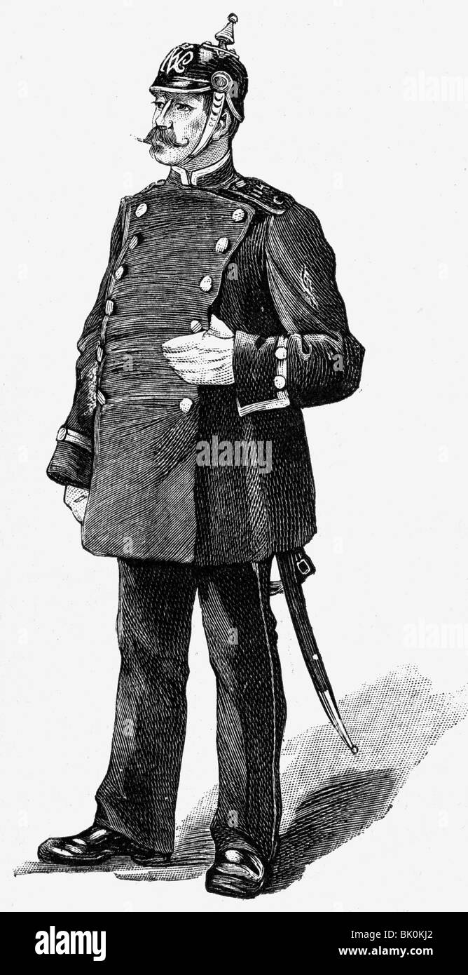 police, Germany, Berlin policeman, wood engraving, 1891, Additional-Rights-Clearances-NA - Stock Image