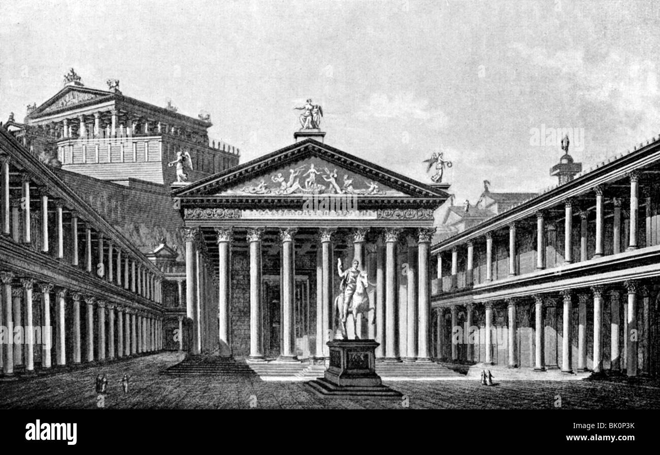 geography / travel, Italy, Rome, Forum Iulium with Temple of Venus Genetrix, view, late 1st century BC, reconstruction - Stock Image