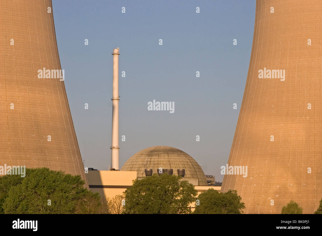 Nuclear power plant with blue sky - Stock Image