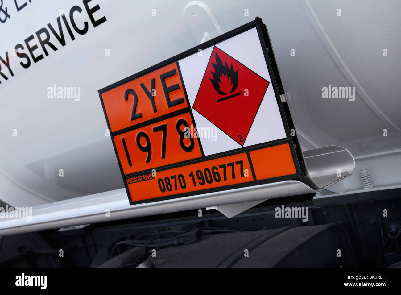 Safety sign on a road tanker - Stock Image
