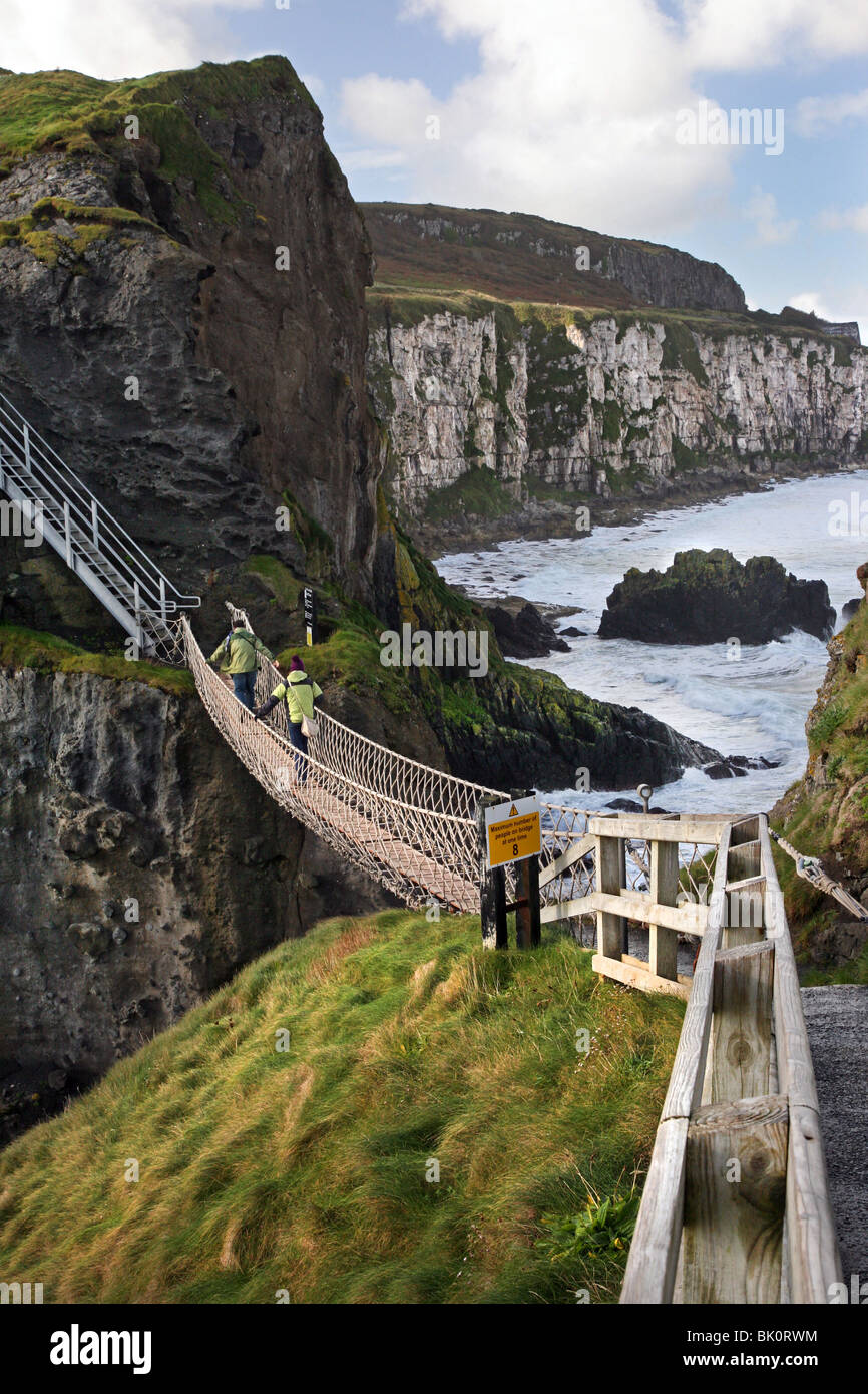 Carrick-a-Rede Rope Bridge, Co Antrim, Ireland - Stock Image