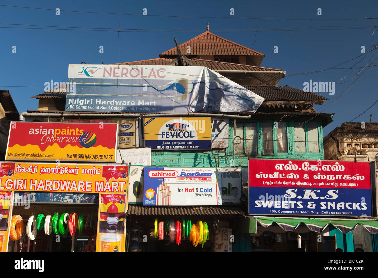 India, Tamil Nadu, Udhagamandalam (Ooty), signs advertising small local businesses - Stock Image