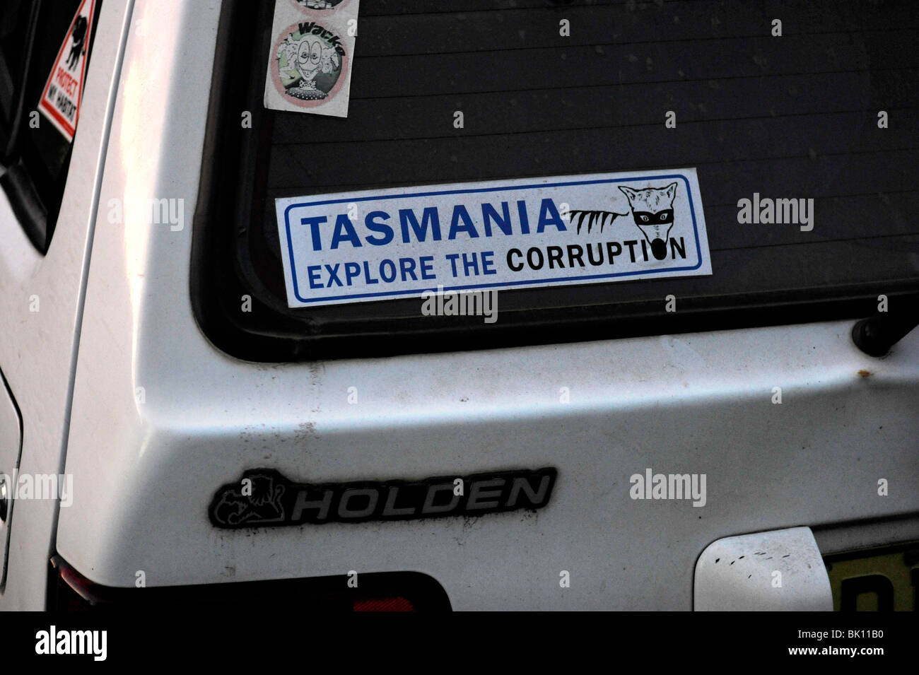 A car sticker pokes fun at Tasmanian politics. - Stock Image