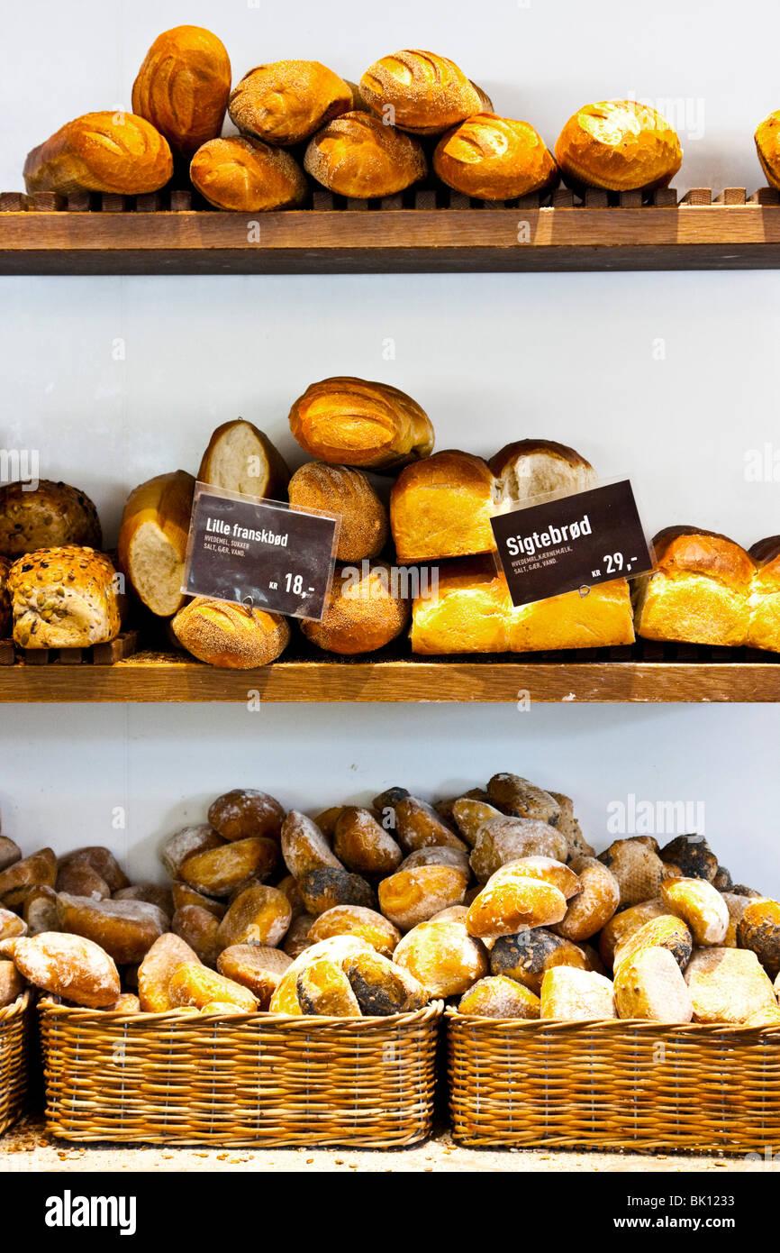 Breads on display in Copenhagen Stock Photo