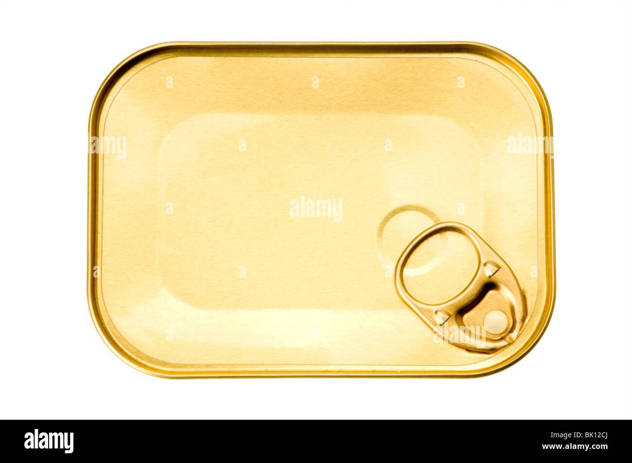 sardine tin can on white - Stock Image